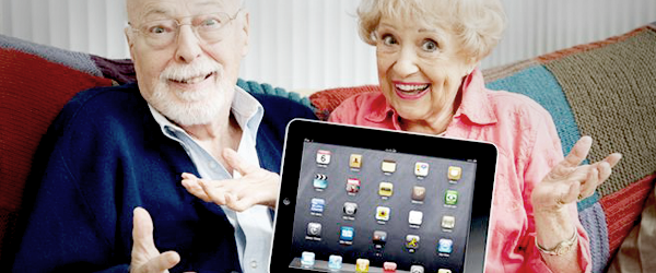 Couple using ipad